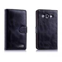 Вощеный чехол портмоне с защелкой для Samsung Galaxy Grand Черный