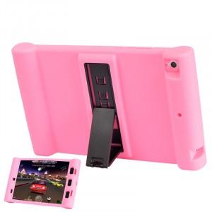 Детский силиконовый противоударный защитный чехол со встроенной подставкой для Xiaomi MiPad Розовый