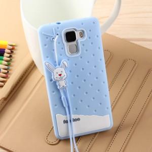 Силиконовый дизайнерский фигурный чехол для Huawei Honor 7 Синий