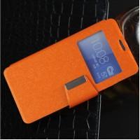 Текстурный чехол флип подставка с окном вызова и магнитной застежкой на силиконовой основе для Huawei Honor 7 Оранжевый