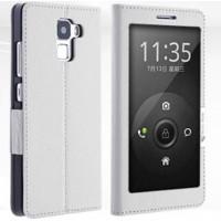 Кожаный чехол флип подставка с полноразмерным окном вызова для Huawei Honor 7