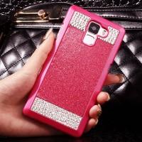 Пластиковый матовый чехол с повышенной шероховатостью и стразами для Huawei Honor 7 Красный