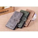 Винтажный чехол портмоне с крепежной застежкой на пластиковой основе для Sony Xperia ZL