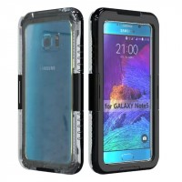 Двухмодульный силиконовый пылеводонепроницаемый IP68 ударостойкий чехол с активной крышкой для Samsung Galaxy Note 5 Черный