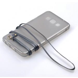 Силиконовый матовый полупрозрачный чехол с шнурком для Samsung Galaxy A3 Черный