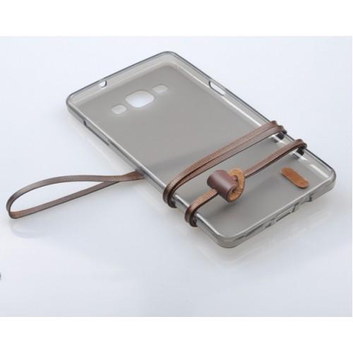 Силиконовый матовый полупрозрачный чехол с шнурком для Samsung Galaxy A3
