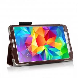 Чехол подставка с рамочной защитой, слотами для карт и поддержкой кисти для Samsung Galaxy Tab S 8.4 Коричневый
