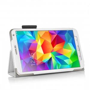 Чехол подставка с рамочной защитой, слотами для карт и поддержкой кисти для Samsung Galaxy Tab S 8.4 Белый