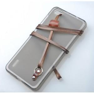 Силиконовый матовый полупрозрачный чехол с ремешком для Huawei Honor 6 Коричневый