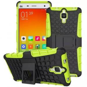 Антиударный силиконовый чехол экстрим защита с подставкой для Xiaomi Mi4 Зеленый