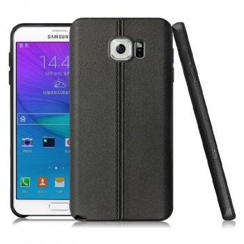 Силиконовый матовый непрозрачный чехол текстура Кожа для Samsung Galaxy Note 5