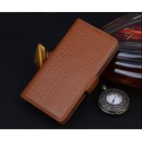 Кожаный чехол портмоне (нат. кожа крокодила) для Samsung Galaxy Note 5 Коричневый