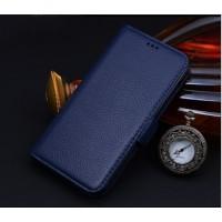 Кожаный чехол портмоне (нат. кожа) для Samsung Galaxy Note 5 Синий