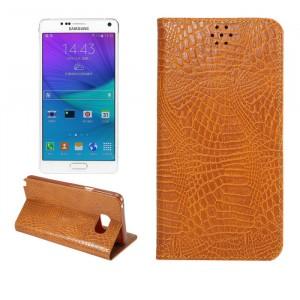 Чехол флип подставка на пластиковой основе с отделением для карт текстура Змея для Samsung Galaxy Note 5 Бежевый