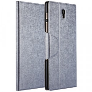 Чехол подставка на пластиковой основе со слотом для карт и застежкой текстурный Silk для Samsung Galaxy Tab S 8.4 Серый