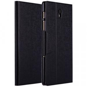 Чехол подставка на пластиковой основе со слотом для карт и застежкой текстурный Silk для Samsung Galaxy Tab S 8.4 Черный