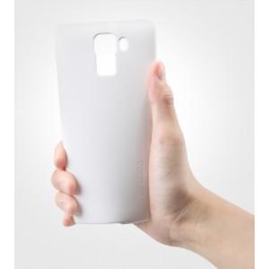 Пластиковый матовый нескользящий премиум чехол для Huawei Honor 7 Белый