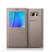 Оригинальный кожаный чехол смарт флип на пластиковой основе с окном вызова (нат. кожа) для Samsung Galaxy Note 5 Бежевый