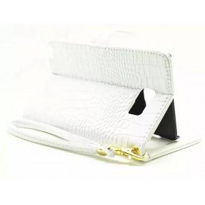 Глянцевый чехол портмоне подставка с магнитной защелкой текстура Крокодил для Samsung Galaxy Note 5 Белый