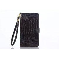 Глянцевый чехол портмоне подставка с магнитной защелкой текстура Крокодил для Samsung Galaxy Note 5 Черный