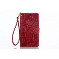 Глянцевый чехол портмоне подставка с магнитной защелкой текстура Крокодил для Samsung Galaxy Note 5 Красный