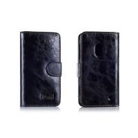 Вощеный чехол портмоне для Nokia Lumia 620 Черный