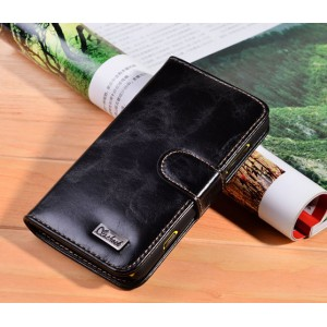 Вощеный чехол портмоне для Nokia Lumia 820 Черный