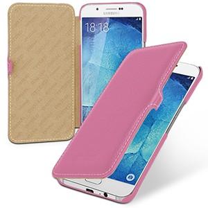 Кожаный чехол горизонтальная книжка (нат. кожа) с застежкой для Samsung Galaxy A8