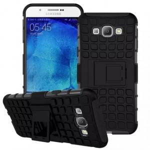 Антиударный силиконовый чехол экстрим защита с подставкой для Samsung Galaxy A8 Черный