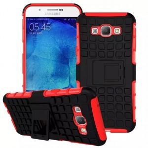 Антиударный силиконовый чехол экстрим защита с подставкой для Samsung Galaxy A8 Красный
