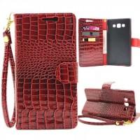 Глянцевый чехол портмоне подставка на пластиковой основе с магнитной защелкой текстура Крокодил для Samsung Galaxy A8 Красный