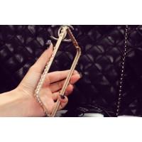 Дизайнерский металлический бампер с инкрустацией стразами и бижутерией ручной работы для Samsung Galaxy A8 Бежевый