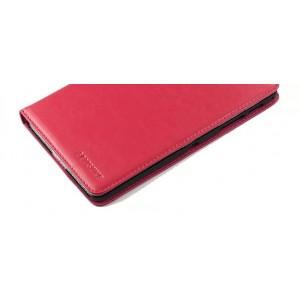 Кожаный чехол подставка (нат. кожа) на пластиковой основе для Samsung Galaxy Tab S 8.4 Пурпурный