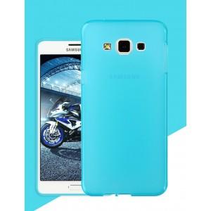 Силиконовый матовый утратонкий полупрозрачный чехол для Samsung Galaxy A8 Синий