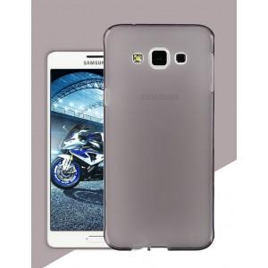 Силиконовый матовый утратонкий полупрозрачный чехол для Samsung Galaxy A8 Серый