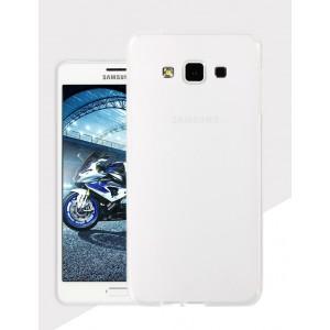 Силиконовый матовый утратонкий полупрозрачный чехол для Samsung Galaxy A8 Белый