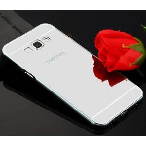 Гибридный металлический двухкомпонентный чехол и поликарбонатной крышкой с зеркальным покрытием для Samsung Galaxy A8 Серый