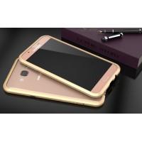 Металлический утратонкий ультралегкий бампер для Samsung Galaxy A8 Бежевый