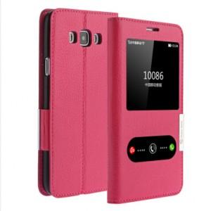 Кожаный чехол флип подставка на пластиковой основе с окном вызова и свайпом для Samsung Galaxy A8 Пурпурный