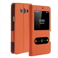 Кожаный чехол флип подставка на пластиковой основе с окном вызова и свайпом для Samsung Galaxy A8 Оранжевый