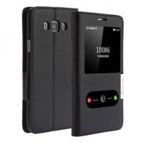 Кожаный чехол флип подставка на пластиковой основе с окном вызова и свайпом для Samsung Galaxy A8 Черный