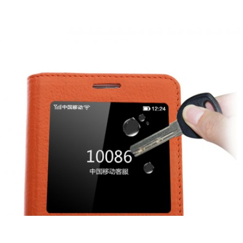 Кожаный чехол флип подставка на пластиковой основе с окном вызова и свайпом для Samsung Galaxy A8