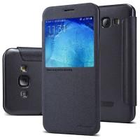 Ультратонкий чехол флип на пластиковой нескользящей основе с окном вызова для Samsung Galaxy A8 Черный