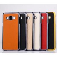 Пластиковый чехол с кожаной текстурой накладки для Samsung Galaxy A8