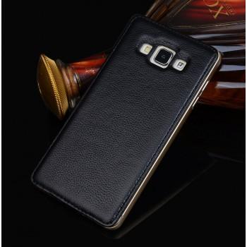 Двухкомпонентный чехол с металлическим бампером и кожаной накладкой для Samsung Galaxy A8