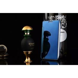 Двухмодульный пластиковый чехол флип с транспарентно-зеркальной смарт крышкой для Samsung Galaxy A8 Синий