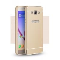 Двухкомпонентный чехол с металлическим бампером и поликарбонатной накладкой для Samsung Galaxy A8 Бежевый