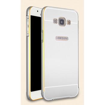 Двухкомпонентный чехол с металлическим бампером с золотой окантовкой и поликарбонатной накладкой для Samsung Galaxy A8