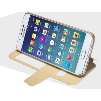 Текстурный чехол флип подставка на пластиковой основе с магнитной защелкой, окном вызова и свайпом для Samsung Galaxy A8