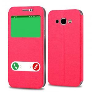 Текстурный чехол флип подставка на пластиковой основе с окном вызова и свайпом для Samsung Galaxy A8 Красный